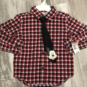 Mickey Mouse Button Up w/ Tie